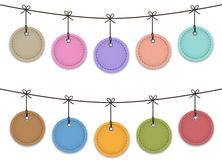 Hanging web elements. Colorful leather labels hanging like Christmas baubles. Vector illustration royalty free illustration