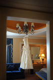Hanging Wedding Dress Stock Images