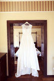 Hanging wedding dress Royalty Free Stock Image