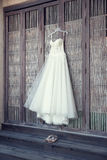 Hanging wedding dress Stock Photography