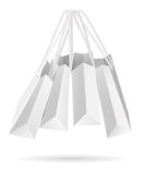 Hanging white paper bags Stock Photography