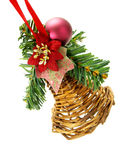 Hanging wicker Christmas decoration Royalty Free Stock Photo