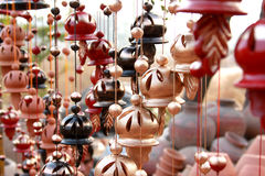 Hanging windchimes. Hanging decorative windchimes made out of clay Stock Photo