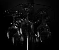 Hanging wine glasses Stock Image
