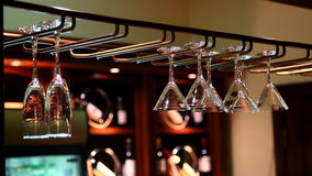 Hanging wine glasses Royalty Free Stock Image