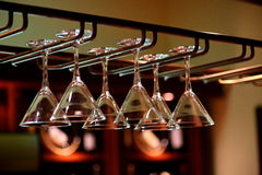 Hanging wine glasses Royalty Free Stock Photography