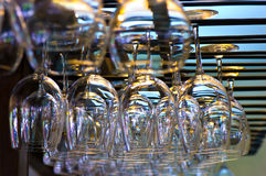 Hanging wineglasses Royalty Free Stock Photo