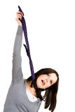 Hanging woman with tie Royalty Free Stock Photo