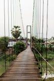 Hanging wood bridge. Sukhothai, Thailand Royalty Free Stock Images