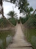 Hanging wooden bridge. Over lack with green water trees and sky Stock Images