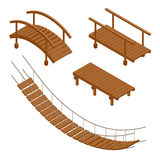 Hanging wooden bridge, wooden and hanging bridge vector illustrations. Flat 3d isometric set. Royalty Free Stock Images
