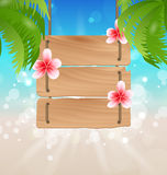 Hanging wooden guidepost with exotic flowers frangipani and palm. Illustration hanging wooden guidepost with exotic flowers frangipani and palmtrees - Vector Royalty Free Stock Photography