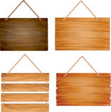 Hanging wooden sign boards. Illustration of hanging wooden sign boards, 4 designs isolated on white Stock Photography