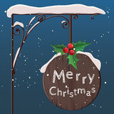 Hanging wooden sign. Merry christmas. Vector. Royalty Free Stock Photo