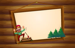 A hanging wooden signboard with a woodman shouting Stock Image