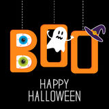 Hanging word BOO with ghost, eyeballs and witch ha. Hanging word BOO with ghost, eyeballs and witch�s hat . Happy Halloween card. Vector illustration Royalty Free Stock Image