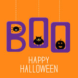Hanging word BOO with spider, owl and pumpkin . Happy Halloween Stock Images