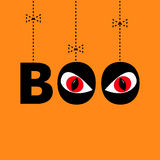 Hanging word BOO text with red eyes. Evil eyeballs. Dash line thread, bow. Happy Halloween. Greeting card. Flat design. Orange bac Stock Photos