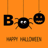 Hanging word BOO text with smiling sad black pumpkin, spider insect silhouette. Dash line thread. Happy Halloween. Greeting card. Royalty Free Stock Photography