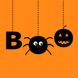 Hanging word BOO text with smiling sad black pumpkin, spider insect silhouette. Happy Halloween greeting card. Dash line thread.  Royalty Free Stock Image