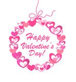 Hanging wreath with hearts for Valentines day Stock Photography