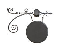 Hanging wrought-iron notice sign cutout Royalty Free Stock Image
