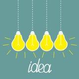 Hanging yellow light bulbs. Idea concept. Royalty Free Stock Photos
