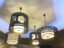 Hangings. Mini chandeliers, food court, city centre, Doha, Qatar Royalty Free Stock Photo