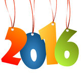 Hangings new year 2016 numbers. Colored hang tag numbers for New Year 2016 Royalty Free Stock Photo