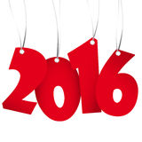 Hangings new year 2016 numbers. Red colored hang tag numbers for New Year 2016 Stock Images