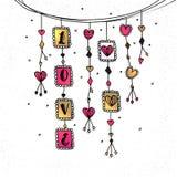 Hangings tirés par la main pour le jour du ` s de Valentine Photographie stock libre de droits