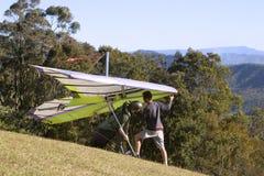 Hanglide takeoff from Mt Tamborine. Australia Stock Image