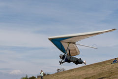 Hanglider. Taking off in Bornes (north Portugal, Europe) landscape royalty free stock images