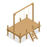Hangman game vector drawing, suicide rope. Isometric gallows Flat 3d illustration. For infographics, game and design Stock Image