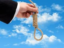 Hangman mężczyzna w jego ręce zdjęcie royalty free
