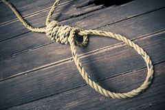 Hangman noose on the floor Royalty Free Stock Photography