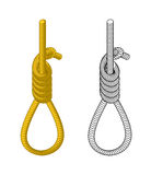 Hangman. Rope with loop. Hanging on rope. Node. Thick rope rope. Royalty Free Stock Image