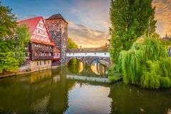 Hangman`s Bridge, Nuremberg, Germany. Nuremburg, Germany at Hangman`s Bridge on the Pegnitz River Royalty Free Stock Images