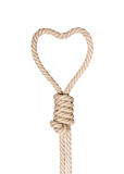 Hangman's noose. Hangman's noose in heart shape isolated on a white background, a symbol of death or love Royalty Free Stock Photos