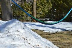 Hangmat en sneeuw Royalty-vrije Stock Fotografie