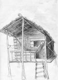 Hangmat en tropische hut Royalty-vrije Stock Afbeeldingen