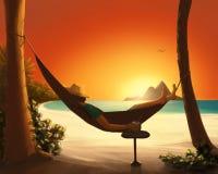 Hangmat op het strand stock foto