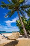 Hangmat op het strand tussen palmen wordt uitgerekt die royalty-vrije stock foto