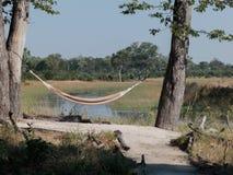 Hangmat tussen bomen in Afrikaans landschap royalty-vrije stock foto's