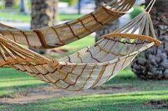 Hangmatten die aan bomen worden gebonden Stock Foto's