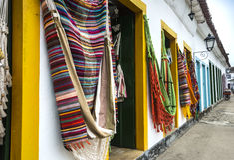 Hangmatten in Paraty, Rio de Janeiro Stock Foto's