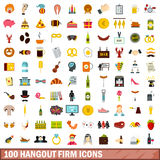 100 hangout firm icons set, flat style. 100 hangout firm icons set in flat style for any design vector illustration Stock Photos