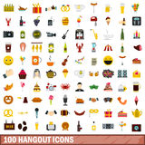 100 hangout icons set, flat style. 100 hangout icons set in flat style for any design vector illustration Royalty Free Stock Photos