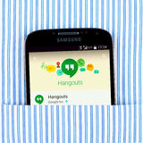 Hangouts app on the Samsung galaxy display. Simferopol, Russia - April 18, 2015: Photo of Hangouts application on the Samsung galaxy display. Google Hangouts is Royalty Free Stock Photo