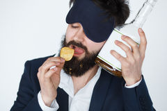 Hangover after drinking, alcoholism concept Royalty Free Stock Image